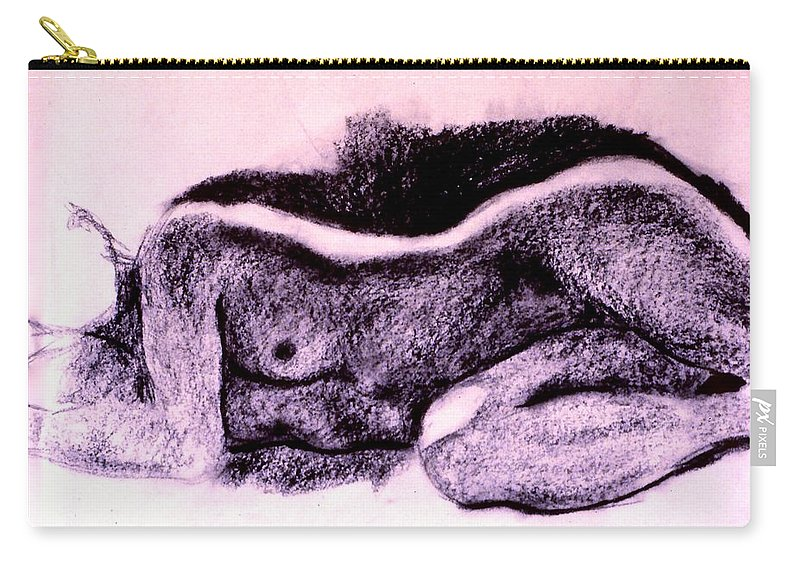 Nude Carry-all Pouch featuring the drawing Repose Sketch by Kendall Kessler