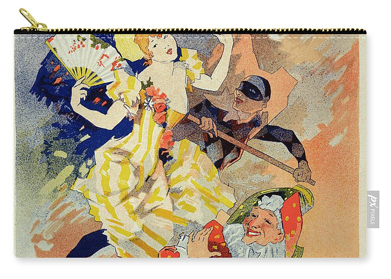 Pierrot Carry-all Pouch featuring the drawing Reproduction Of A Poster by Jules Cheret