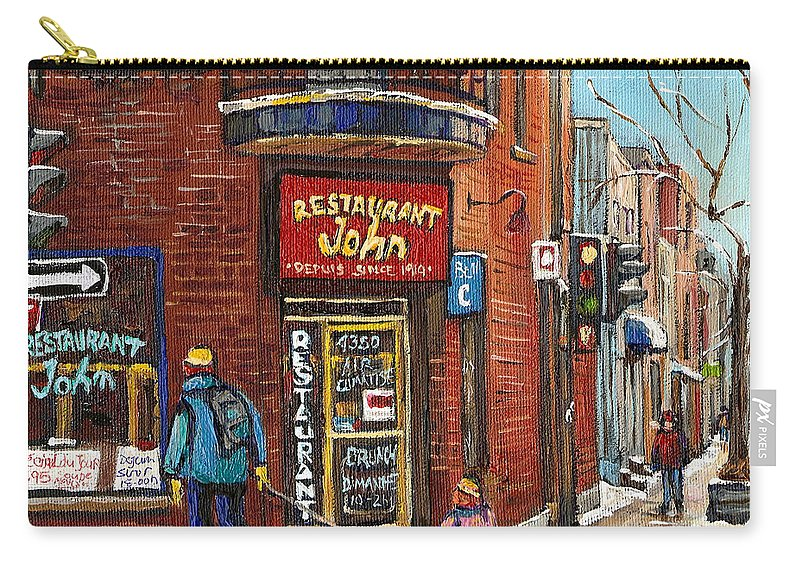 Restaurant John Carry-all Pouch featuring the painting Restaurant John by Carole Spandau
