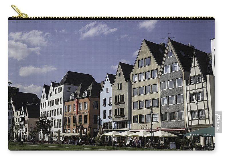 2014 Carry-all Pouch featuring the photograph Restaurants And Brewpubs Along The Rhine Cologne by Teresa Mucha