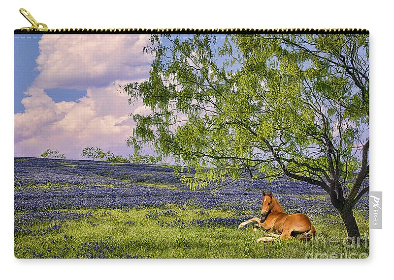 Bluebonnets Carry-all Pouch featuring the photograph Resting Among The Bluebonnets by Priscilla Burgers