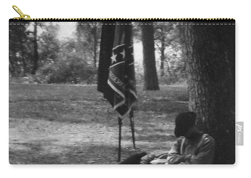 Black And White Carry-all Pouch featuring the photograph Resting At Gettysburg by Eric Liller