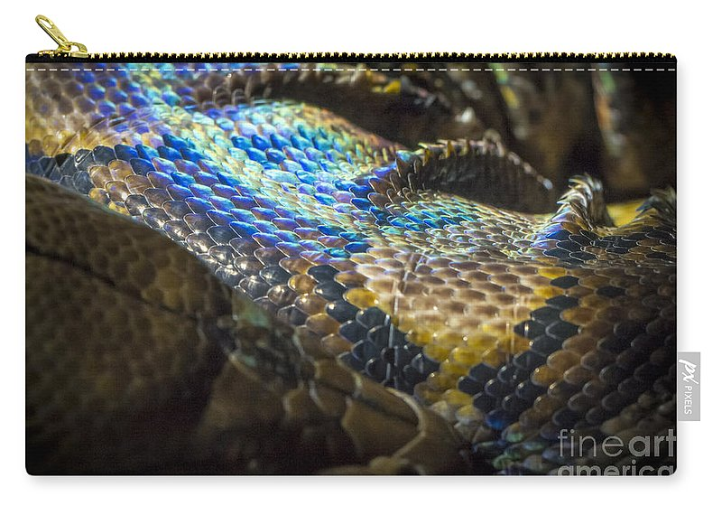Clare Bambers Carry-all Pouch featuring the photograph Reticulated Python With Rainbow Scales 2 by Clare Bambers