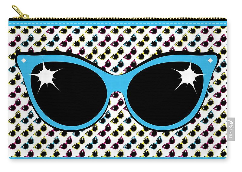 Sunglasses Carry-all Pouch featuring the digital art Retro Blue Cat Sunglasses by MM Anderson