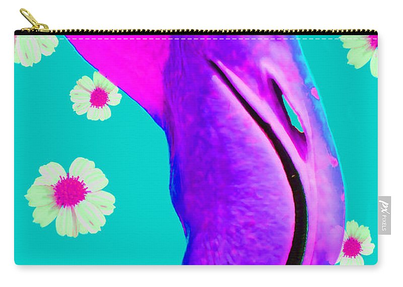 Flamingo Carry-all Pouch featuring the photograph Retro Flamingo by Nola Lee Kelsey