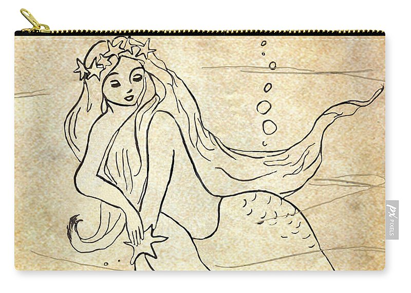 Mermaid Carry-all Pouch featuring the drawing Retro Mermaid by Rosalie Scanlon