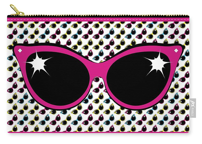 Sunglasses Carry-all Pouch featuring the digital art Retro Pink Cat Sunglasses by MM Anderson