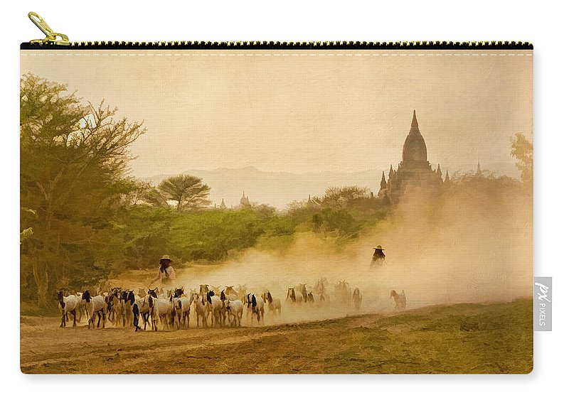 Myanmar Carry-all Pouch featuring the photograph Returning From Pasture 4 by Claude LeTien