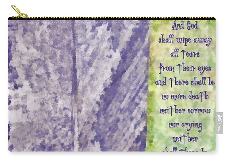 Jesus Carry-all Pouch featuring the digital art Revelation 21 4 by Michelle Greene Wheeler