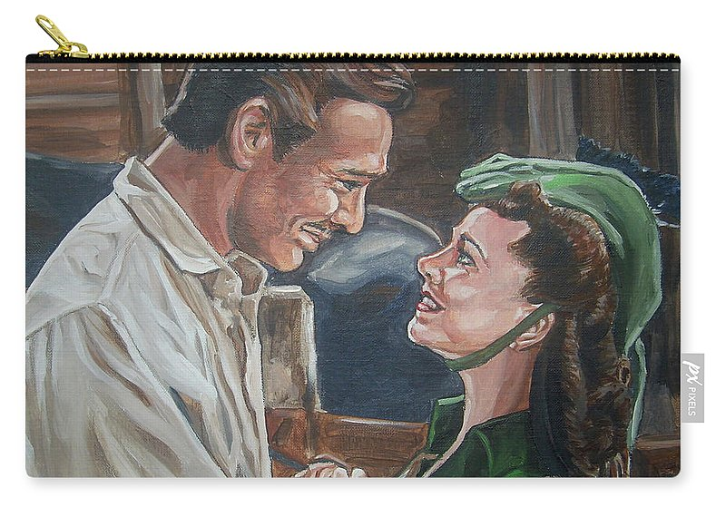 Gone With The Wind Carry-all Pouch featuring the painting Rhett And Scarlett by Bryan Bustard