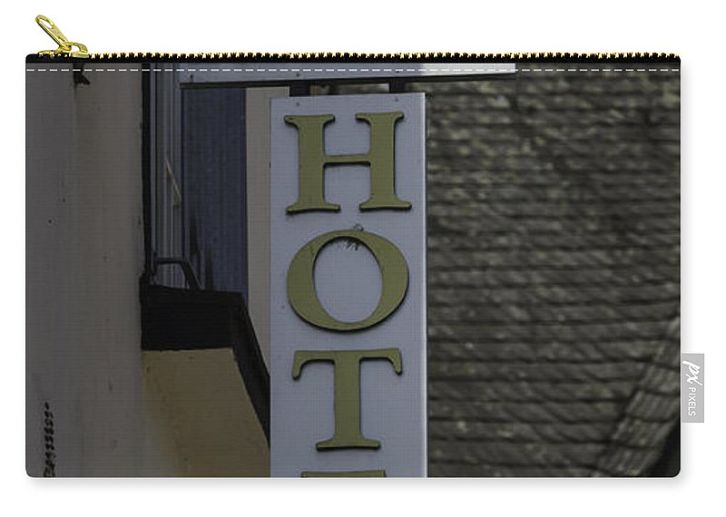 2014 Carry-all Pouch featuring the photograph Rhine Hotel St Martin Sign by Teresa Mucha