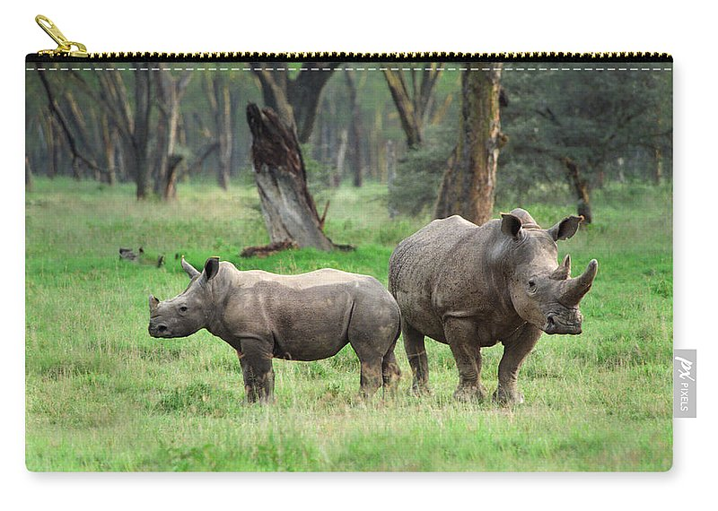 Africa Carry-all Pouch featuring the photograph Rhino Family by Sebastian Musial