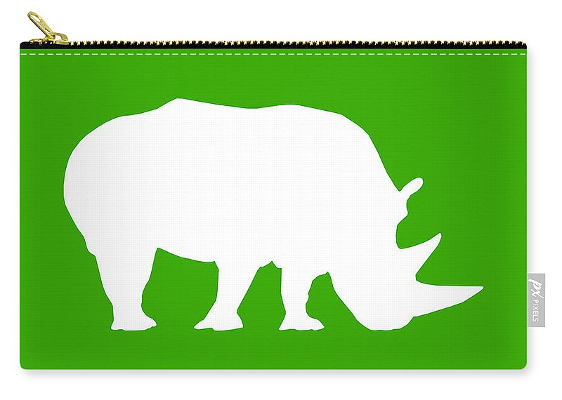 Graphic Art Carry-all Pouch featuring the digital art Rhino In Green And White by Jackie Farnsworth