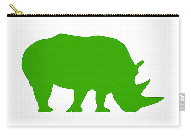 Graphic Art Carry-all Pouch featuring the digital art Rhino In Green by Jackie Farnsworth