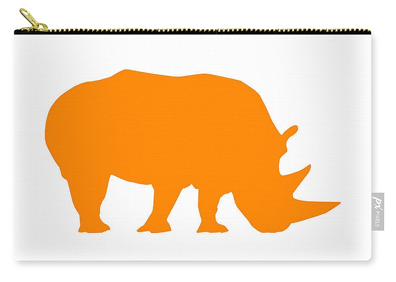 Graphic Art Carry-all Pouch featuring the digital art Rhino In Orange And White by Jackie Farnsworth