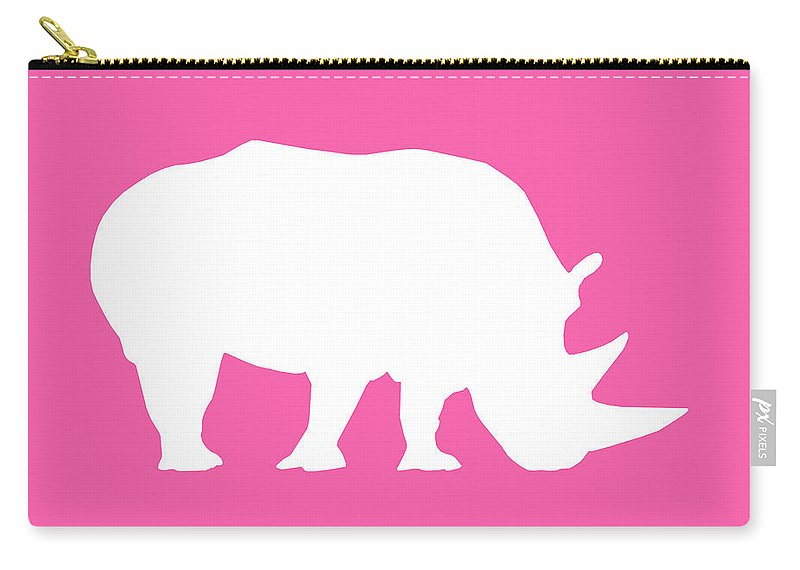 Graphic Art Carry-all Pouch featuring the digital art Rhino In Pink And White by Jackie Farnsworth