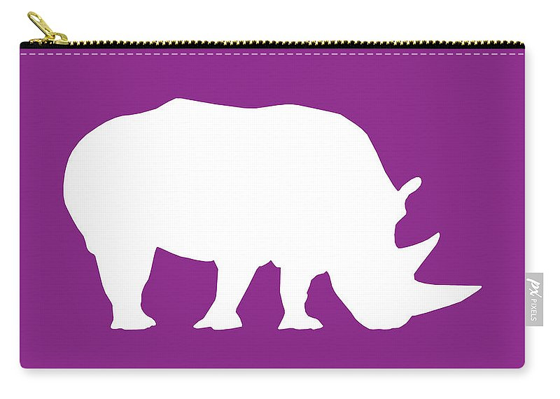 Graphic Art Carry-all Pouch featuring the digital art Rhino In Purple And White by Jackie Farnsworth