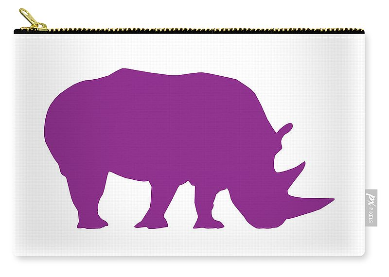 Graphic Art Carry-all Pouch featuring the digital art Rhino In Purple by Jackie Farnsworth
