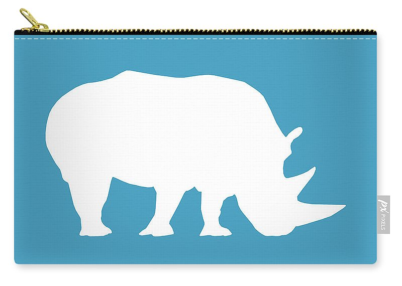 Graphic Art Carry-all Pouch featuring the digital art Rhino In White And Turquoise Blue by Jackie Farnsworth