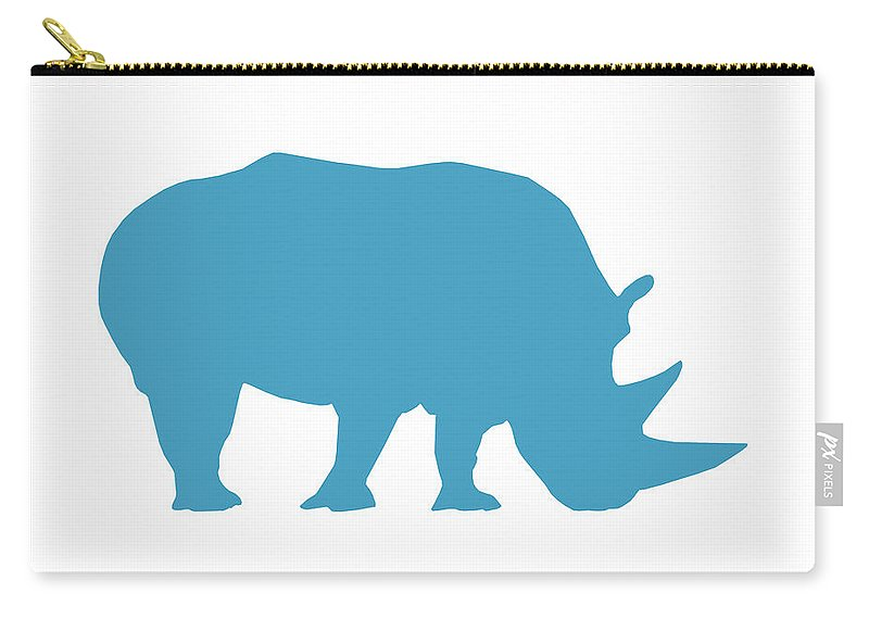Graphic Art Carry-all Pouch featuring the digital art Rhino In White And Turquoise by Jackie Farnsworth