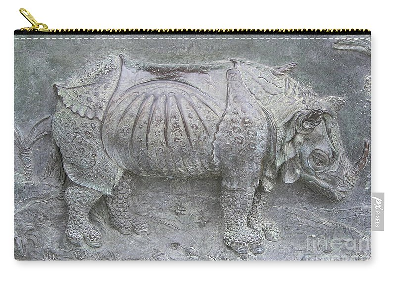Bronze Relief Carry-all Pouch featuring the photograph Rhino Relief - Church Door Detail Pisa by Christiane Schulze Art And Photography