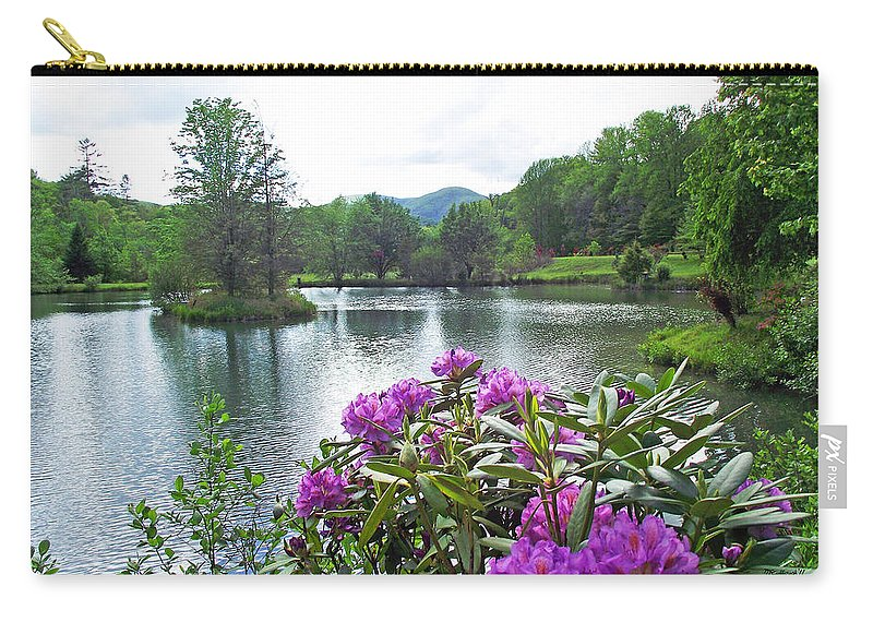 Plants Carry-all Pouch featuring the photograph Rhododendron Blossoms And Mountain Pond by Duane McCullough