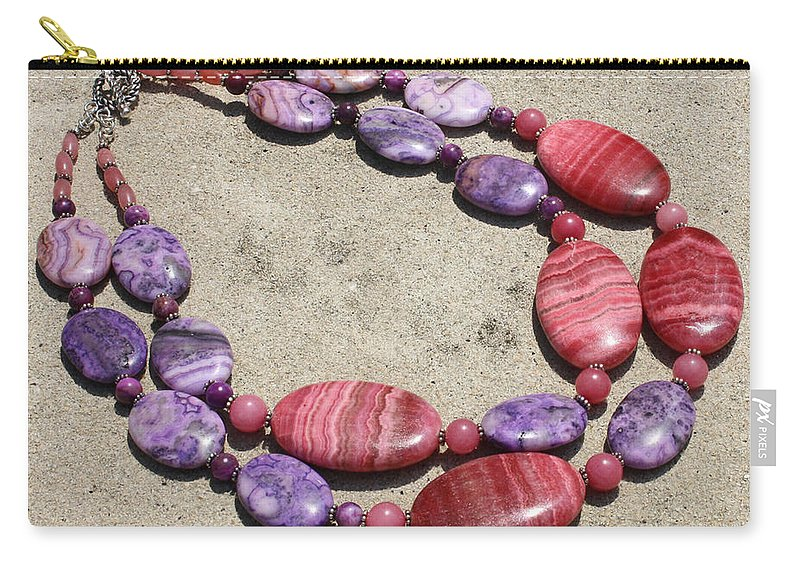 Original Handmade Jewelry Carry-all Pouch featuring the jewelry Rhodonite And Crazy Lace Agate Double Strand Chunky Necklace 3636 by Teresa Mucha