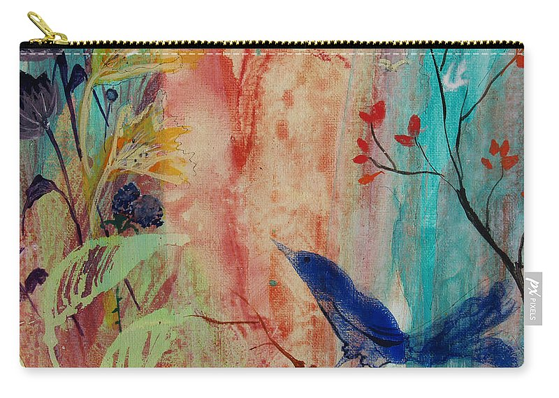 Blue Bird Carry-all Pouch featuring the painting Rhythm And Blues by Robin Maria Pedrero