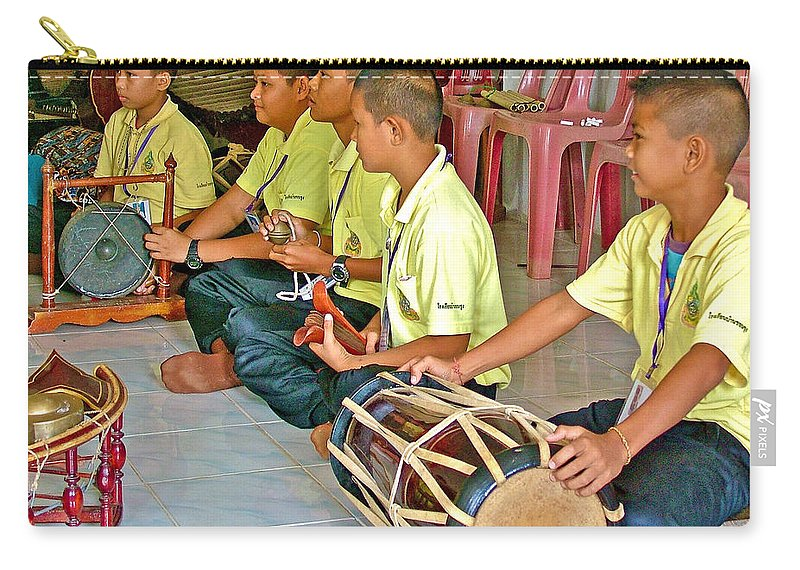 Rhythm Section In Traditional Thai Music Class At Baan Konn Soong School In Sukhothai Carry-all Pouch featuring the photograph Rhythm Section In Traditional Thai Music Class At Baan Konn Soong School In Sukhothai-thailand by Ruth Hager