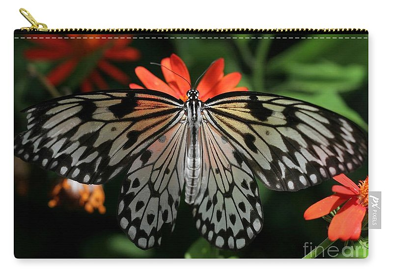 Butterfly Carry-all Pouch featuring the photograph Rice Paper Butterfly Elegance by Sabrina L Ryan