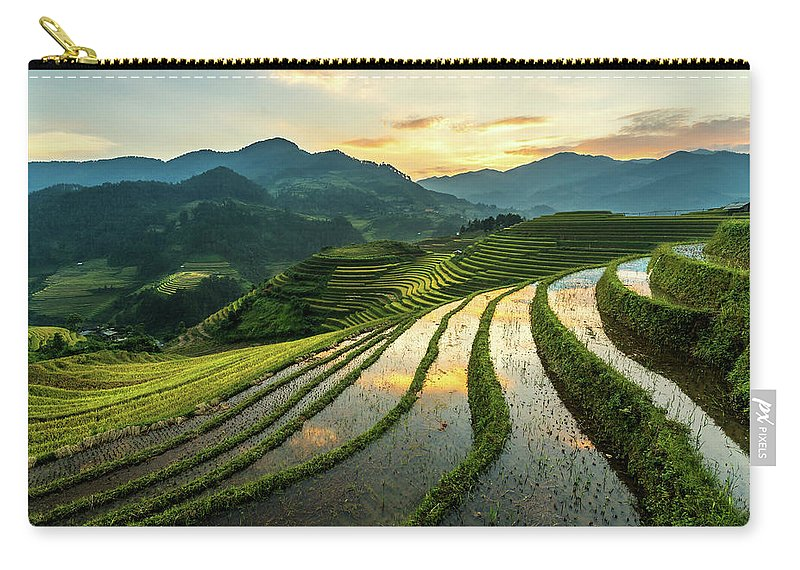Scenics Carry-all Pouch featuring the photograph Rice Terraces At Mu Cang Chai, Vietnam by Chan Srithaweeporn