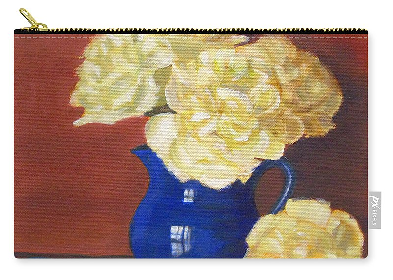Peonies Carry-all Pouch featuring the painting Rich Peonies by Robie Benve