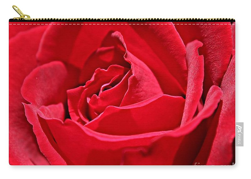Red Carry-all Pouch featuring the photograph Rich Red by Clare Bevan