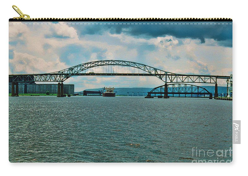 Richard I Bong Memorial Bridge Carry-all Pouch featuring the photograph Richard Bong Bridge by Tommy Anderson
