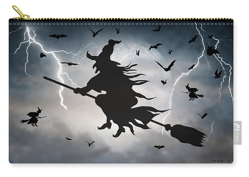 2d Carry-all Pouch featuring the digital art Ride Like Lighting by Brian Wallace