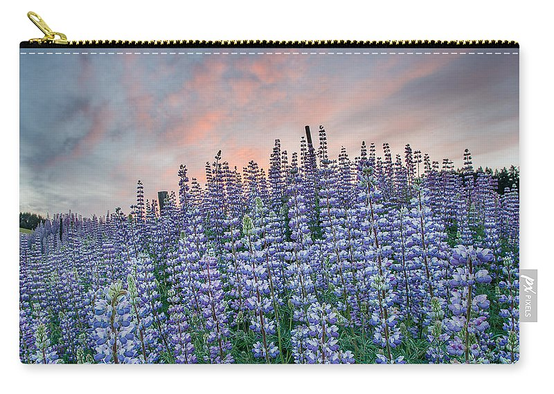 Lupine Carry-all Pouch featuring the photograph Ridge Of Lupine At Dawn by Greg Nyquist