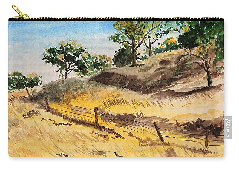 Autumn Carry-all Pouch featuring the painting Riding By Back Road by Masha Batkova