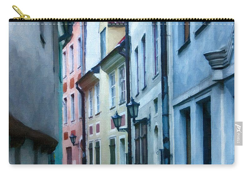 Digital Carry-all Pouch featuring the painting Riga Narrow Street Painting by Antony McAulay