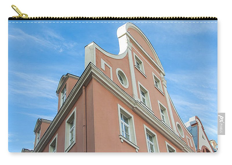 Pink Carry-all Pouch featuring the photograph Riga Pink Building by Antony McAulay