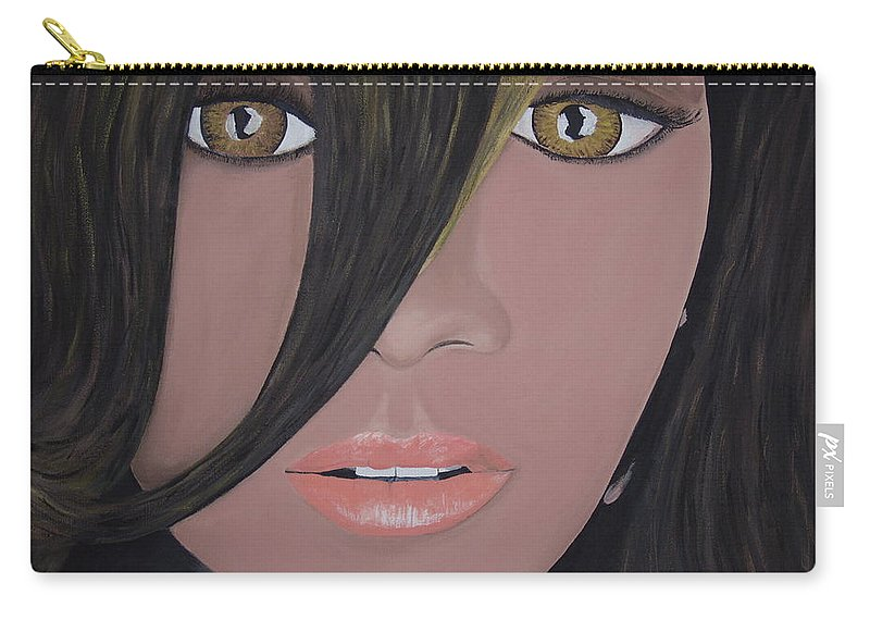 Acrylic Painting Carry-all Pouch featuring the painting Rihanna by Dean Stephens