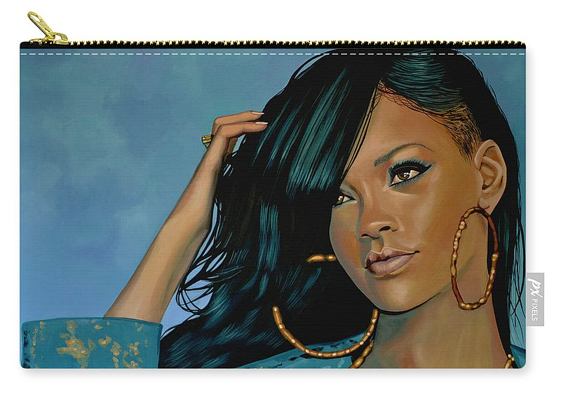 Rihanna Carry-all Pouch featuring the painting Rihanna Painting by Paul Meijering
