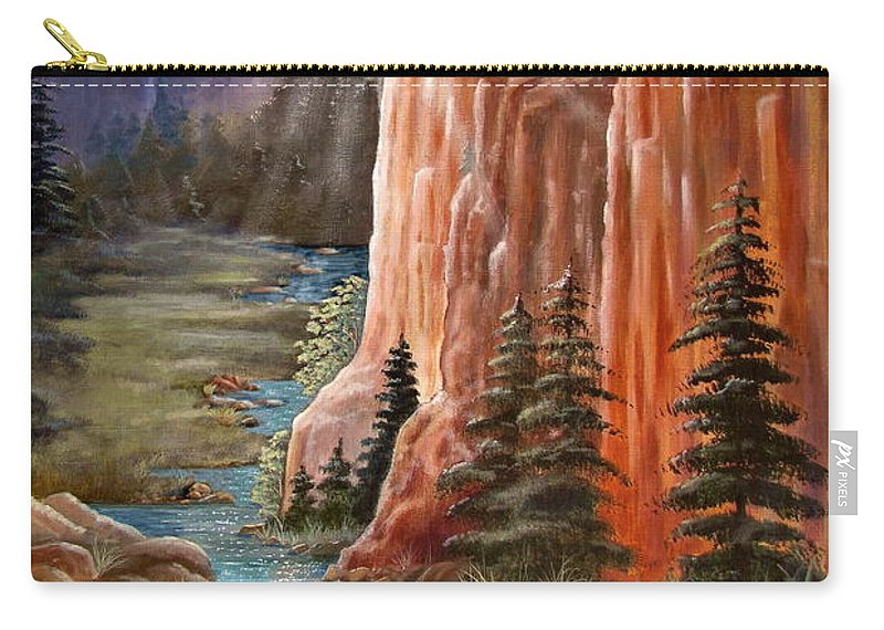 Western Carry-all Pouch featuring the painting Rim Canyon Ride by Marilyn Smith
