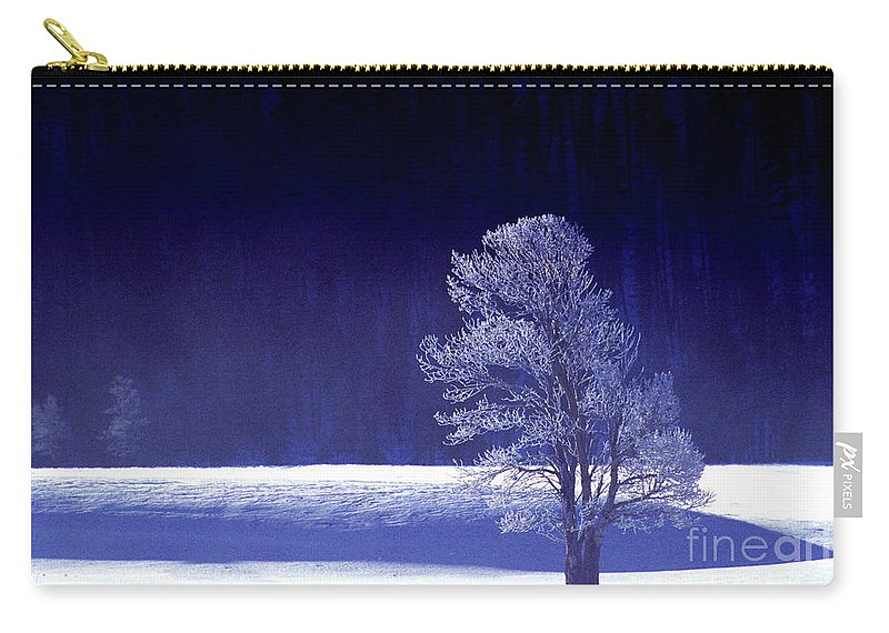 North America Carry-all Pouch featuring the photograph Rime Ice Covered Tree Yellowstone National Park Wyoming by Dave Welling