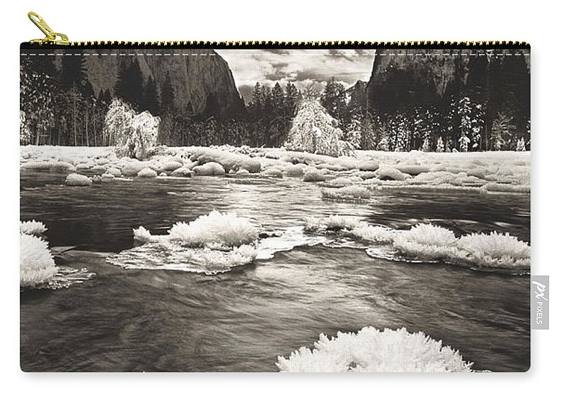 North America Carry-all Pouch featuring the photograph Rime Ice On The Merced In Black And White by Dave Welling
