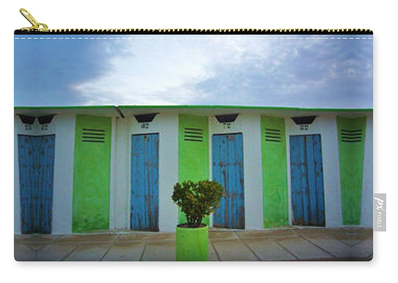 Rimini Carry-all Pouch featuring the photograph Rimini Beach Panorama by Andy Prendy