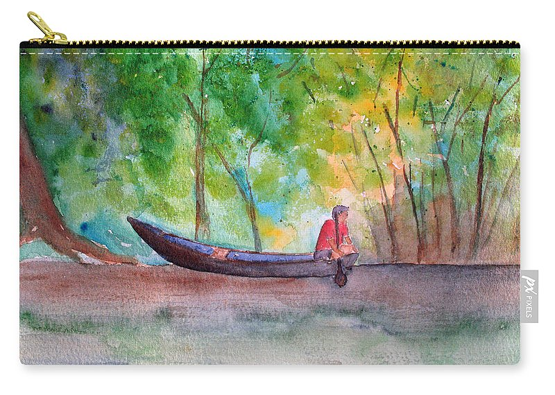 Rio Negro Carry-all Pouch featuring the painting Rio Negro Canoe by Patricia Beebe