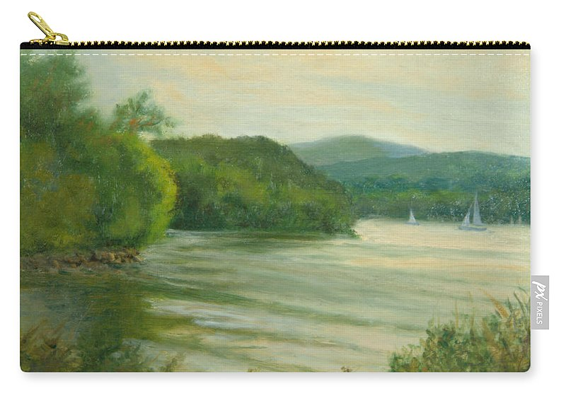 Hudson River Carry-all Pouch featuring the painting Ripples At Garrison Landing by Phyllis Tarlow