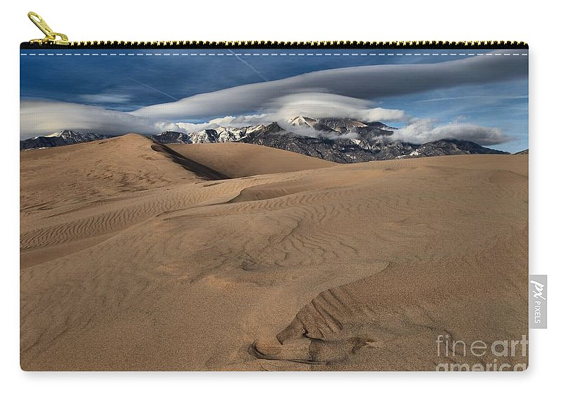 Great Sand Dunes National Park Carry-all Pouch featuring the photograph Ripples Dunes And Clouds by Adam Jewell