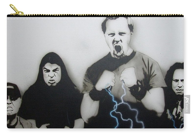 Rock Carry-all Pouch featuring the painting Rising Metallic Storm by Christian Chapman Art