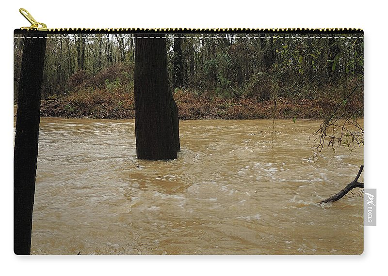Dry Creek Carry-all Pouch featuring the photograph Rising Waters With Timber by Kim Pate